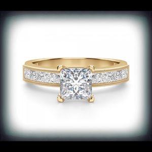 SW 14k Princess Cut Diamondique CZ Ring Sz 7